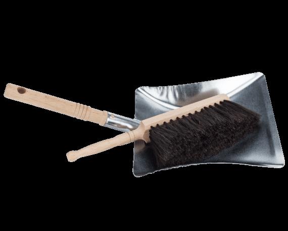 Horsehair Brush and Galvanized Dust Pan Set
